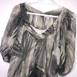 Axara Paris grey transparent blouse w cami Sz 6